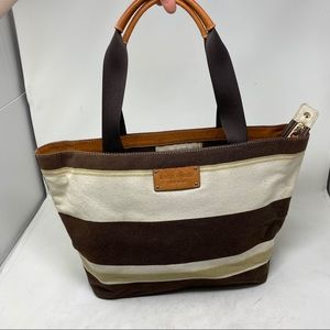 Kate Spade Brown striped canvas tote